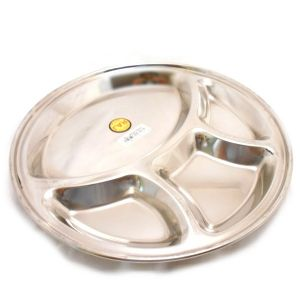 Stainless Steel Thali Plate [4 Division Dinner/Mess Tray | Buy Online at the Asian Cookshop